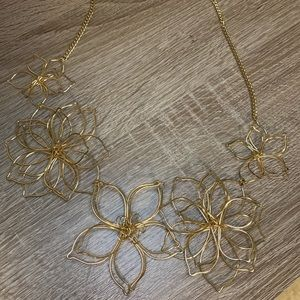 Gold Wire Flower Necklace